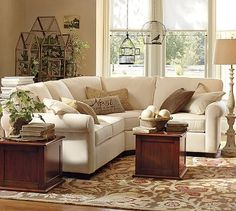 Cream sectional sofa with wedge corner seat across from fireplace in Living Room. Buchanan Roll Arm Upholstered Curved Sectional With Wedge Small Living Rooms, My Living Room, Home And Living, Living Room Furniture, Living Room Designs, Sunroom Furniture, Space Furniture, Wicker Furniture, Furniture Layout