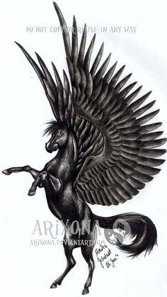 black pegasus tattoo | Black Pegasus Drawing Black pegasus by arixona