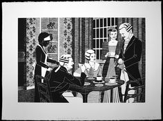 """Kristin Powers Nowlin. Good to the Last Drop: Coffee with Cream. woodblock print on paper. 22"""" x 30"""". 2014"""