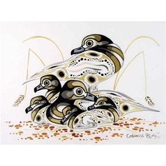 View UNTITLED (DUCKS) By Eddy Cobiness; Watercolour on paper; Access more artwork lots and estimated & realized auction prices on MutualArt. Native Canadian, Canadian Artists, Native American Art, Aboriginal Education, Aboriginal Art, Indigenous Art, Native Art, Ceramic Painting, First Nations