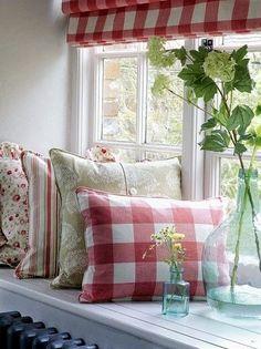 colorful pillows Red Pillows, Colorful Pillows, Valance Curtains, Windows, Home Decor, Decoration Home, Room Decor, Home Interior Design, Valence Curtains