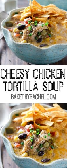 Slow cooker cheesy chicken tortilla soup recipe from @bakedbyrachel A comforting meal easy enough for any day of the week!