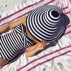 Spring / Summer - beach style - beach wear - swimwear - black and white striped front bow one piece swimsuit + black and white striped floppy hat
