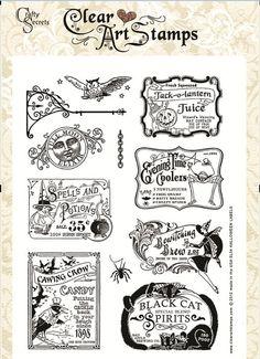 Halloween Labels SL54 Clear Art Stamp Vintage by craftysecretsetsy, $19.99