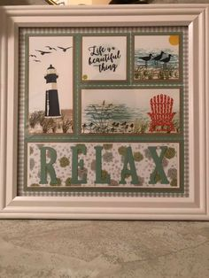 """use a tree instead of lighthouse, and """"just breathe"""" Box Frame Art, Box Frames, Collage Frames, 3d Paper Crafts, Candy Cards, Stamping Up Cards, High Tide, Frame Crafts, Marianne Design"""