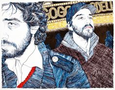 Hope Gangloff - New York illustrator, Hope Gangloff tackles the candid snapshot in illustration with the ease of a polaroid. Hope Gangloff, Ink Illustrations, Pen Illustration, Pen Art, Biro Art, Acrylic Canvas, Music Film, Photo Projects, Community Art