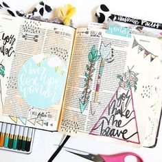 Illustrated Faith Journaling | mixed media hybrid Bible journaling in Joshua 6 | He Has Made Me Brave ...