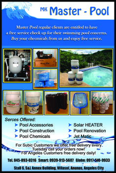 Reliable Service For Pool Enjoyment. For your pool services needs, contact MK Master Pool at 045 893 0939 913 5607 and 0917 519
