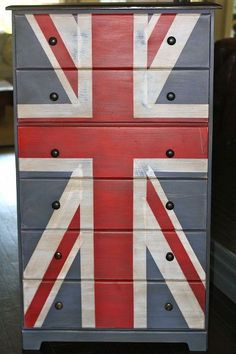 chalk painted furniture, chalk paint, painted furniture, Tall boy Union Jack