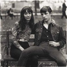 Photo by Diane Arbus, 1965, Young Couple on a bench in Washington Square Park, NYC.
