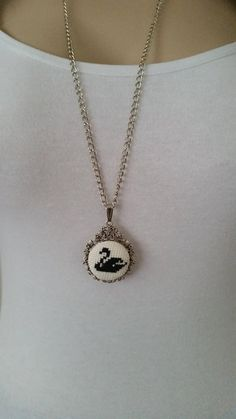 Cross stitch necklace, necklace, jewelry, pendant, embroidery necklace, Valentine's Day, cross stitch jewelry, gift for her, accessories