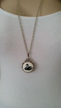 Cross stitch necklace swan necklace Necklace jewelry pendant embroidery necklace Valentines Day cross stitch jewelry gift for her Swan Necklace, Diamond Bar Necklace, Dainty Gold Necklace, Mini Cross Stitch, Cross Stitch Embroidery, Pendant Jewelry, Jewelry Necklaces, Kinder Valentines, Fleurs Diy
