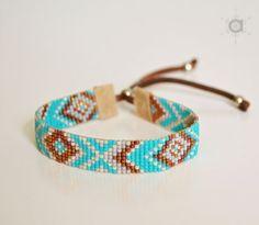 Loom beaded bracelet, friendship bracelet, turquoise bracelet, delica bead bracelet, boho bracelet