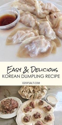 Delicious and Easy Homemade Korean Dumplings Delicious and Easy Homemade Korean Dumplings The Strawberry Onion TSO Appetizers Easy and delicious korean dumpling recipe Make the nbsp hellip Snacks, Snack Recipes, Cooking Recipes, Healthy Recipes, Dinner Recipes, Korean Food Recipes, Easy Asian Recipes, Rice Recipes, Korean Dumplings