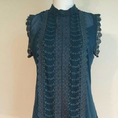 NWT sheer Teal blouse with matching camisole Beautiful lace detail around the neck, arms and front of the blouse. Has matching camisole nwt. Apt. 9 Tops Blouses