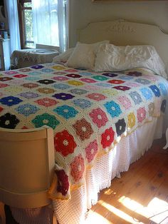 I want a granny square blanket just like this, and I need to find me a crafty goddess to make me one! Or a real nanna who can crochet.