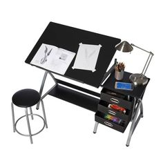 OneSpace 51 in. Rectangular Black/Silver 3 Drawer Writing Desk with Adjustable Height Feature - The Home Depot Mobile Desk, Fabric Drawers, Craft Station, Desk Shelves, Shelf, Perfect Angle, Large Desk, Art Supply Stores, Modern Crafts