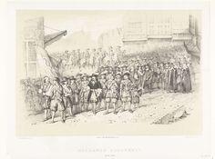 A. van Groeneveldt   Optocht van Hollandse militaire en politieke leiders, 1650-1675, A. van Groeneveldt, Pieter Wilhelmus van de Weijer, 1826 - 1863   Hollands Grootheid. Optocht van Hollandse militaire en politieke leiders, ca. 1650-1675. Optocht door de straten van een Hollandse stad van een stoet met vooraan soldaten met de vlag van de VOC gevolgd door zeehelden waaronder De Ruyter en Tromp, andere bestuurders, soldaten en ruiters.