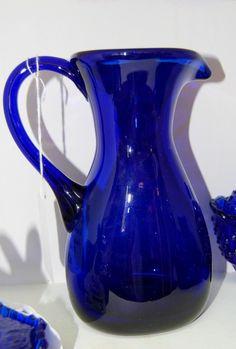 Cobalt Blue Pitcher - $28.00 Blue Kitchen Decor, Blue Home Decor, Cobalt Glass, Cobalt Blue, Kind Of Blue, Blue And White, Coloured Glass, Vintage Shabby Chic, Vintage Pottery