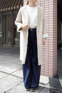 画像1: TORAZZO DONNA (トラッゾドンナ) フェイクムートンリバーシブルノーカラーコート 2色