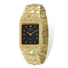 Versil 10 Karat Black 27x47mm Dial Square Face Nugget Watch