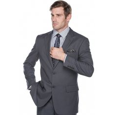 Verno Men's Steel Birdseye Textured Classic Fit Italian Styled Two Piece Suit