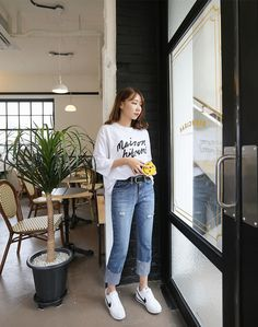 Your personal style defines you, so look incredibly chic in these high-waist roll up denim pants.  #DailyAbout #Fashion #Korean #Asian #repin #styleboard #gorgeous #design #trendy #trends #jeans #denim