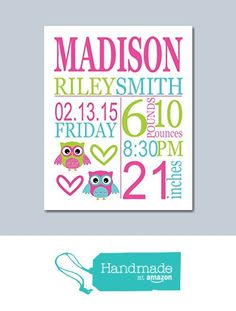 Owl Birth Print,Girl Birth Print, Baby Girl Birth Announcement, Owl Birth Announcement, Owl Baby Gift, Baby Shower Gifts for Girl, Owl Nursery Decor, Owl Nursery Wall Art - 8X10 UNFRAMED from Sweet Blooms Decor http://www.amazon.com/dp/B018USBKPW/ref=hnd_sw_r_pi_dp_.1HPwb0ZQCAYW #handmadeatamazon