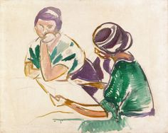 Two Women at the Table.c.1917 by Edvard Munch