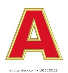 One letter from red with gold shiny frame alphabet set, isolated on white. Alphabet, Monogram, Lettering, 3d, Logos, School, Frame, Illustration, Cutest Animals