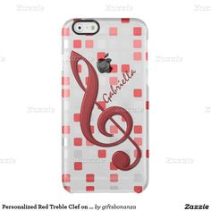 Personalized Red Treble Clef on Red Gray Mosaic Uncommon Clearly™ Deflector iPhone 6 Case