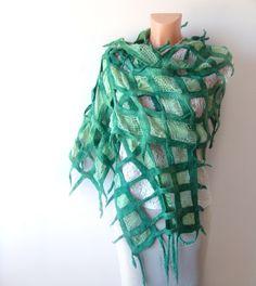 Nuno felted scarf -  green net.  via Etsy.