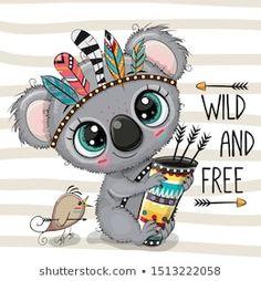 Illustration about Cute Cartoon Koala with feathers on a stripes background. Illustration of free, greeting, feather - 159378660 Cartoon Cartoon, Cute Cartoon Drawings, Cute Animal Drawings, Baby Animals, Cute Animals, Striped Background, Woodland Animals, Cute Illustration, Baby Koala