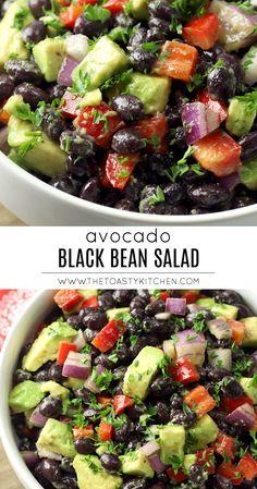 Avocado Black Bean Salad by The Toasty Kitchen Black Bean Salad Recipe, Bean Salad Recipes, Healthy Salad Recipes, Vegetarian Recipes, Black Bean Salads, Healthy Black Bean Recipes, Kale Recipes, Avocado Recipes, Detox Recipes