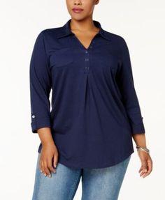 Karen Scott Plus Size Cotton Polo-Collar Henley Top, Created for Macy's - Black 1X
