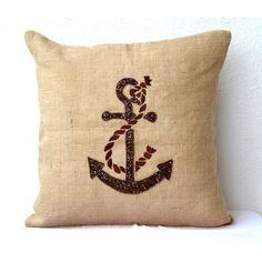 Anchor Throw Pillows Nautical Pillow Covers Beach Pillows Burlap... (1,635 INR) via Polyvore featuring home, home decor, throw pillows, decorative pillow, accent pillow, anchor pillow, burlap pillow, nautical pillow, home & living and home décor