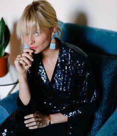 Pandora Sykes wearing Yolke sequined pajamas and beaded earrings Pandora Sykes, Good Girl, Jolie Photo, Fashion Editor, The Girl Who, Playing Dress Up, Dress To Impress, Feminine, Street Style