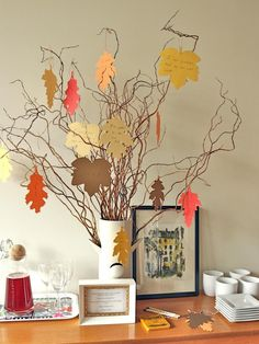 Give thanks in a new way this holiday season. Invite friends and family to share what they are most thankful for by creating a thankful tree that can take center stage throughout the Thanksgiving holiday.