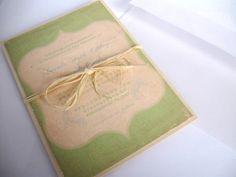 Amanda Green Vintage Rustic Woodland Invitations with Raffia Ribbon. $5.25, via Etsy.