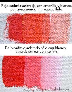cambio de temperatura color rojo aclarado con blanco y amarillo Painting Lessons, Painting Tips, Art Lessons, Acrylic Painting Tutorials, Acrylic Art, Elly Smallwood, Drawing Practice, Color Theory, Art Tips