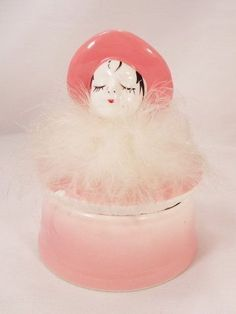 Pretty  Pink Flapper Girl With Feathers Vanity Jar Filled With Powder Pads