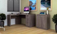 Conjunto Home Office com Mesa para Computador e Balcão Carvalho - Tecno Mobili