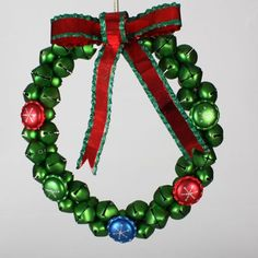Sterling Christmas Brights Green Jingle Bell Wreath with Red Bow Christmas Tree Bows, Christmas Jingles, Xmas Ornaments, Holiday Wreaths, Christmas Holidays, Xmas Tree, Christmas Crafts, Green Glitter, Silver Glitter