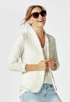 JustFab Frayed Edge Blazer Womens White Size XXL