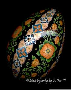 Peach Floral Ukrainian Easter Egg Pysanky By So Jeo