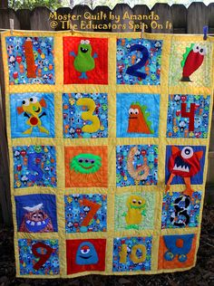 Monster quilt idea.  Create a one of a kind quilt for your child inspired by Monsters and numbers.