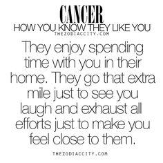 Zodiac Cancer: How you know they like you.