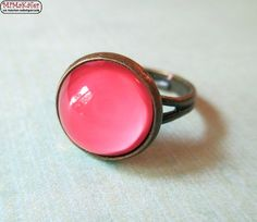 Bronzering Cabochon Rosa
