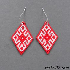 Red and White Seed Bead Earrings #beadwork #handmade http://www.anabel27.com/