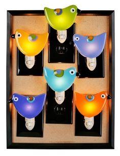 Fused Glass Bird Night Light Pink by raquelsbirds on Etsy, $26.00